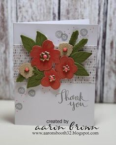 I have a few more examples of Thin cuts cards. The thin cuts are pretty awesome, look at this flower card. With a few simple cuts on colored cardstock I mad this cluster of flowers. So easy and stunn