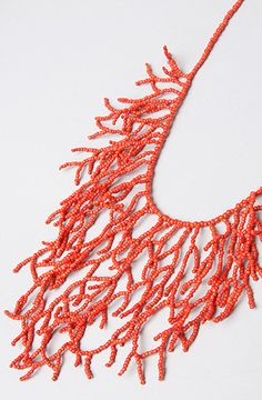 *Karmaloop Accessories Boutique The Coral Reef Necklace Metal chain necklace with fringe made from beaded strings; Coral Jewelry, Seed Bead Jewelry, Bead Jewellery, Seed Beads, Beaded Jewelry, Handmade Jewelry, Accessories Jewellery, Beach Accessories, Collar Hippie
