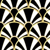 Art Deco Fan in Black, White and Gold by suzzincolour
