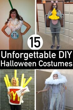 Creative DIY Halloween Costumes perfect for the entire family! Stand out with these kids and adult halloween costumes that are fun to make and wear. Halloween Costumes Women Creative, Diy Halloween Costumes For Women, Halloween Diy, Halloween Projects, Halloween Halloween, Halloween Makeup, Halloween Decorations, Halloween College, Halloween Couples