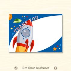 Thank You Card - Outer Space Rocket Ship - 7 x 5 or 6 x 4 inch Digital File - JPG - ID 5090-01 on Etsy, $5.00
