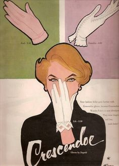 Illustration by René Gruau, ca 1953, Crescendoe Gloves.