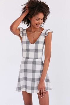 Native Youth Gingham Frill-Sleeve Mini Dress - Urban Outfitters