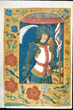 Miniature of George and full scatter border, in a Book of Hours: Bruges, c. 1500 (London, British Library, MS Kings 9, f. 41r).
