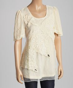 Look what I found on #zulily! Caramel Floral Lace Silk-Blend Layered Top #zulilyfinds
