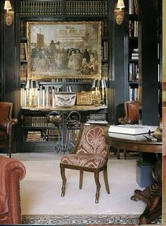 Alessandra Branca. Drama, dark & moody.  My favorite fabric on that chair - sure wish I could locate in the blue.