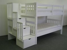 Amazon.com: Bedz King Twin Over Twin Stairway Bunk Bed, White: Kitchen & Dining