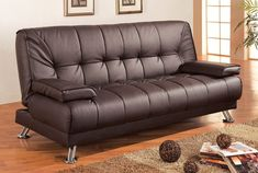 Sleeper Sofa - Coaster Futon Sofa Bed with Removable Arm Rests, Brown Vinyl by Coaster Home Furnishings