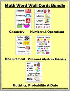 Math Word Wall Cards Bundle