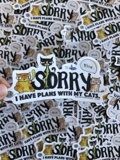 Sorry I Have Plans With My Cats: Original Mushpa + Mensa Design Art Sticker, Waterproof Stickers, Vinyl Stickers, Cool Stickers, Cat Sticker #queersticker #catsticker #vinylsticker #ArtStickers #mushpamensa #Cats #originalfont #lesbiansticker Brown Art, Waterproof Stickers, Cat Stickers, Silk Screen Printing, Hand Illustration, Hanging Art, Beautiful Artwork, Are You The One, Art Quotes