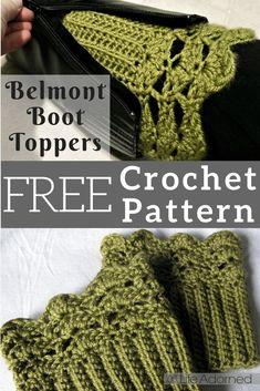 Belmont Boot Toppers pattern by Jenn Wolfe Kaiser Crochet Boot Socks, Crochet Boot Cuff Pattern, Crochet Leg Warmers, Crochet Slippers, Crochet Patterns, Crochet Ideas, Knit Hats, Hat Patterns, Quick Crochet