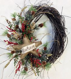 Christmas Wreath, Holiday Wreath, Star Wreath, Holiday Door Decor, Christmas Decor, Winter Wreath, Woodland Wreath, Birch, Star, Burlap by CrookedTreeCreation on Etsy https://www.etsy.com/listing/252695580/christmas-wreath-holiday-wreath-star