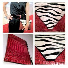 Red Crocodile calf hair zebra print clutch bag by Candy Woolley