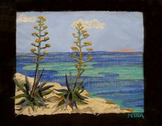 "Natasha Metaxa ""Agaves by the seashore in Kefalonia""  collages with handmade paper, 72x51cm"