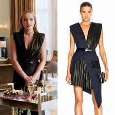Fallon Carrington wears this Mugler wool twill and patent leather belted wrap dress on Dynasty Fashion Tv, Fashion 2017, Fashion Looks, Fashion Outfits, Classy Outfits, Cute Outfits, Der Denver Clan, Dynasty Clothing, Tv Show Outfits