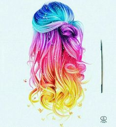 I'm dying my hair to that! I'm dying my hair to that! It totally reminds me of the insta logo…. Eyes Artwork, Galaxy Hair, Dying My Hair, Hair Sketch, Unicorn Hair, How To Draw Hair, Rainbow Hair, Cute Drawings, Hair Drawings