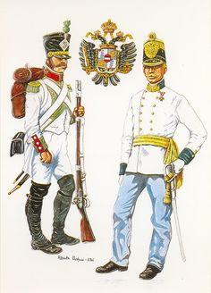 """Austria - FANTE DEL 3° REGGIMENTO REGNO ITALICO, 1809  MAGGIORE DEL REGGIMENTO .DI FANT.ERIA nr 21 """"FREIHERR VON REISCHACH"""", 1859 -  STEMMA DEL LOMBARDO VENETO"""