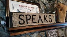 Personalized names, burlap, block wood, by Wendy, Speaks Creations