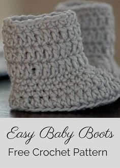 Free Crochet Pattern -- Easy Baby Boots. By Posh Patterns.