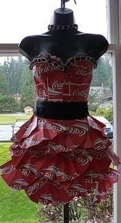 Lady Upcycle Coke or drink boxes into a dress. GENIUS!