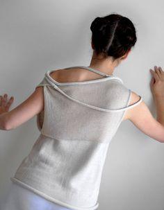 Women top  Light beige transparent okapi sweater by okapiknits, $150.00