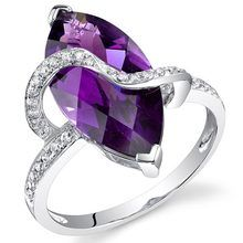 14k White Gold 4.18 cts Amethyst Diamond Ring R61906