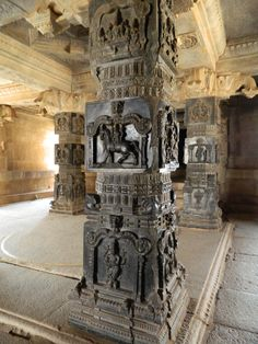 intricately carved pillar at krishna temple, hampi