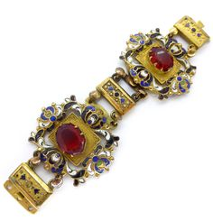 Antique Ornate Austro Hungarian Enamel Red Pate Necklace Clasp | Clarice Jewellery | Vintage Costume Jewellery