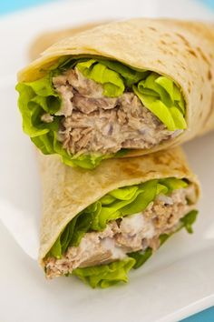 This tuna wrap recipe is a nice alternative using bread. Tuna Wrap Recipe from Grandmothers Kitchen. Healthy Wraps, Healthy Foods To Eat, Healthy Snacks, Healthy Recipes, Paleo Wraps, Healthy Tuna, Lunch Snacks, Lunches, Wrap Recipes For Lunch