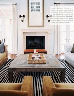 Large Square Coffee Table - this is definitely the type of textured simple table that I feel would fit the style while adding layers of texture to the room.