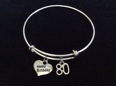 Happy 80th Birthday Expandable Charm Bracelet ** To view further, visit now : Handmade Gifts