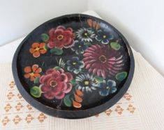 Hand Painted Mexican Wood Platter Bowl Mexican Folk Art Batea Bowl Platter