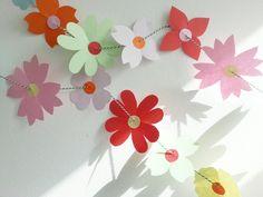 Summerflower garland, papercraft, paperart, paperflowers