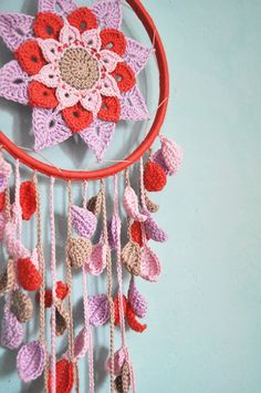 Crochet dreamcatcher with flower pattern