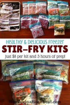 Save time and money by making these freezer stir-fry kits. There's nothing like having a healthy meal just waiting in the freezer on an insanely busy day!