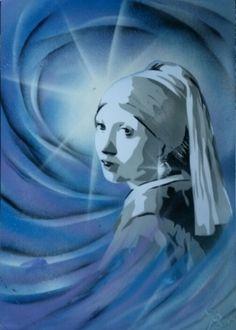TABLEAU PEINTURE la jeune fille à la  bleu spray paint art tableau Scène de…