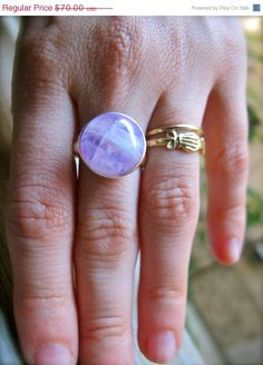 Pink Moonstone Full Moon Ring.