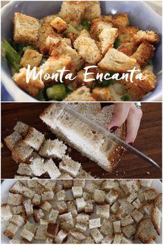 Como fazer Croûtons Crocantes em 4 min. Cubinhos torrados e bem temperados de pão, dão um 'a mais' em sopas cremes e saladinhas! receita: https://youtu.be/A5ecFunLI_k Gostou? Inscreva-se AQUI e fique por dentro das novidades! ;) https://www.youtube.com/user/MontaEncanta?sub_confirmation=1