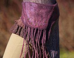Purple Faery Felt Belt // Pocket in Merino Wool // Silk Fibers // Coconut Button // Brass Studs // Bohemian // Mother Earth Art Wear