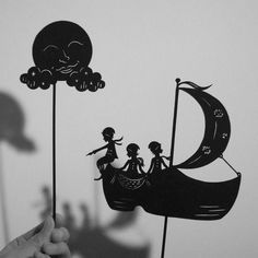 """Made after the wonderful poem """"Dutch Lullaby"""" written by Eugene Field Wynken, Blynken, and Nod one night Sailed off in a wooden shoe--- Sailed on a river of crystal light, Into a sea o. Shadow Theatre, Toy Theatre, Shadow Art, Shadow Play, Shadow Puppets, Stop Motion, Kids Playing, Art Lessons, Storytelling"""