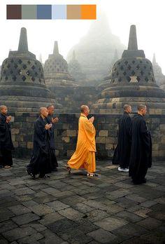 The Orange Vesak ceremony in the morning, borobudur temple, Bali, by Noor Eva Bali Lombok, Laos, Kuala Lumpur, Travel Around The World, Around The Worlds, Borobudur Temple, Yogyakarta, Asia Travel, Maldives