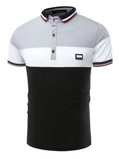 Color Block Patchwork Lapel Slim Men's Polo T-Shirt