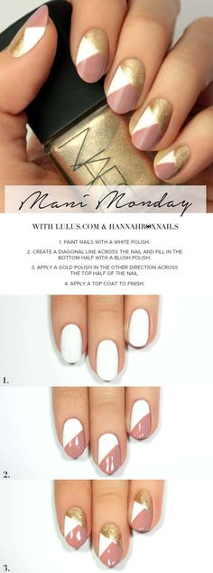 Monday: Pink and Gold Geo Nail Tutorial Mani Monday: Pink and Gold Geo Nail Tutorial at !Mani Monday: Pink and Gold Geo Nail Tutorial at ! Nagel Hacks, Nail Art For Beginners, Beginner Nail Art, Manicure Y Pedicure, Pedicure Colors, White Pedicure, Gold Manicure, Pedicure Ideas, Nagel Gel
