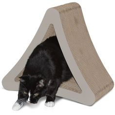 Cat Scratcher Post Lounger w/Cubby Hole Cardboard Files/Trims Nails 3-Sided NEW