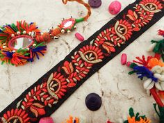 Black Embroidered Trim with Floral Motifs Indian Fabric Trim