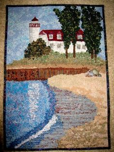 Art Quilt  Point Betsie Lighthouse Frankfort Michigan Confetti Quilt Wall Hanging on Etsy, $675.00 This would look great wrapped on canvas to really show this beauty off.