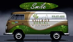 Design a cool vehicle wrap for Village Dental on a vintage VW Bus! by dopaMADs Vehicle Signage, Vehicle Branding, Cruiser Car, Land Cruiser, Eco Friendly Cars, Van Wrap, Van Design, Lifted Ford Trucks, Signage Design