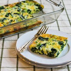 Recipe for Spinach and Mozzarella Egg Bake; if you have a hard time using up those big packages of spinach from Costco, keep this recipe in mind!  [from Kalyn's Kitchen] #LowGlycemicRecipe  #HealthyBreakfast