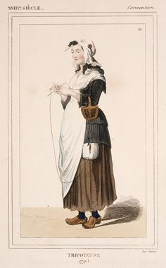 Costume Plate (Tricoteuse 1793) France, 19th century Hand-colored engraving on paper LACMA Collections