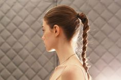 We love a tried-and-true ponytail as much as the next girl, but we're always looking for ways to mix it up. And thanks to Public School, we know have an ultra-chic answer to our conundrum. Instead of a classic braid, Aveda lead hairstylist Allen Ruiz tied up the hair into a high ponytail and opted to weave together two twists, as opposed to three sections, for a slightly less-expected feel. It's simple enough, but at first glance it looks anything but.